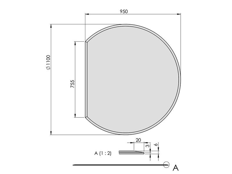 ガラス フロアプレート 円形