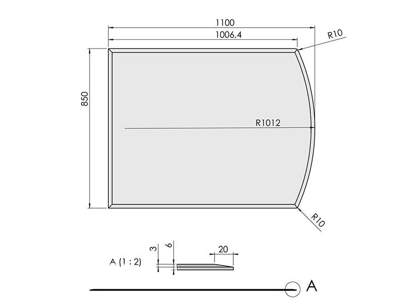 ガラス フロアプレート 曲線形